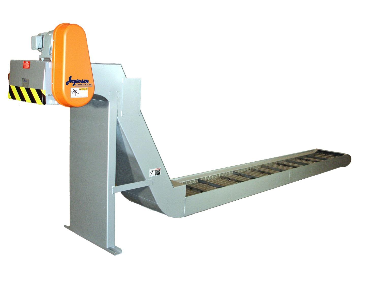 Hinged belt chip conveyor for cnc metal cutting