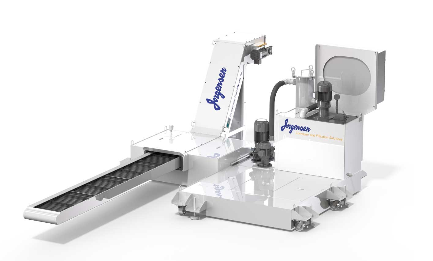 Chip conveyor with integrated coolant filtration